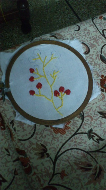 red and yellow embroidery